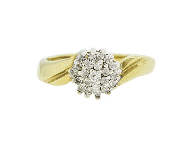 10K Yellow and White Gold Diamond Cluster Engagement Ring
