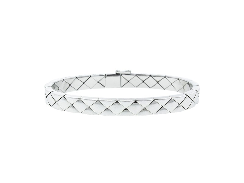 Chanel 18K White Gold Quilted Bracelet