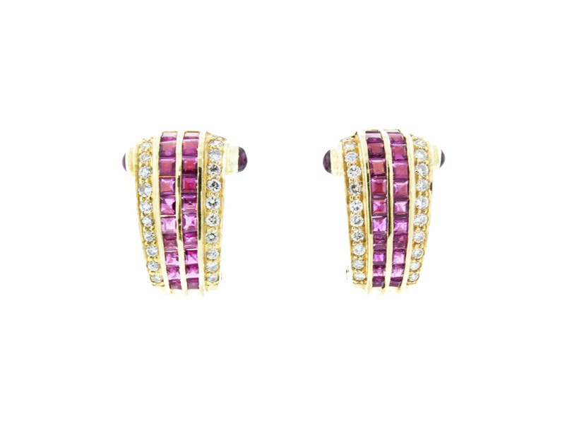 18K Yellow Gold Diamond and Ruby Earrings