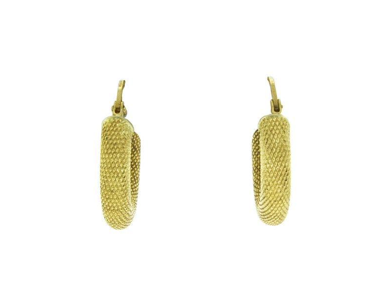 18K Yellow Gold Snake Skin Textured Hoop Earrings