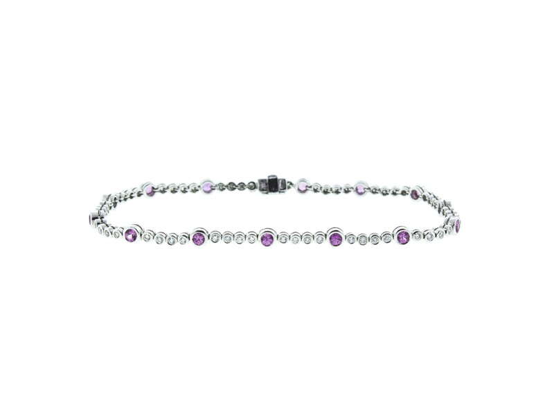 18K White Gold Diamond and Pink Sapphire Tennis Bracelet