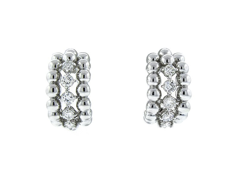 18K White Gold 3 Row Diamond Drop Earrings