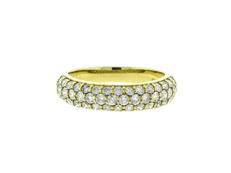 18K Yellow Gold and Diamond 3 Row Band Ring