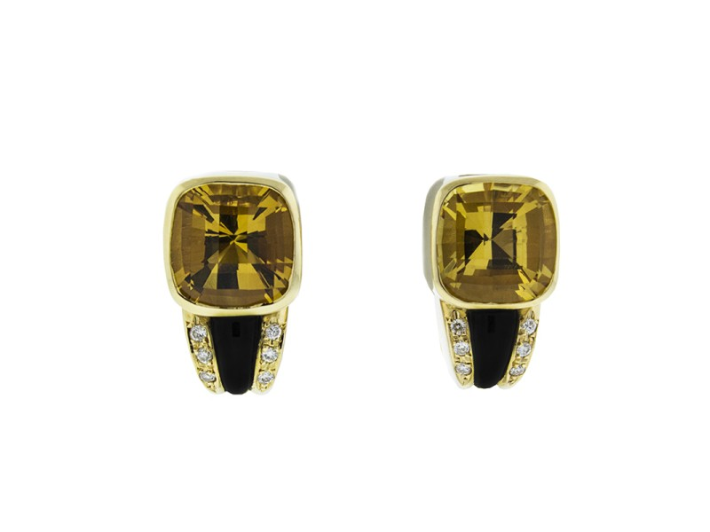 18K Yellow Gold Citrine Onyx and Diamond Earrings