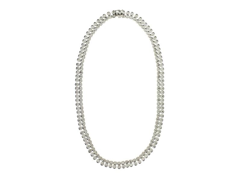 Platinum and Diamond Two Row Riveira Necklace