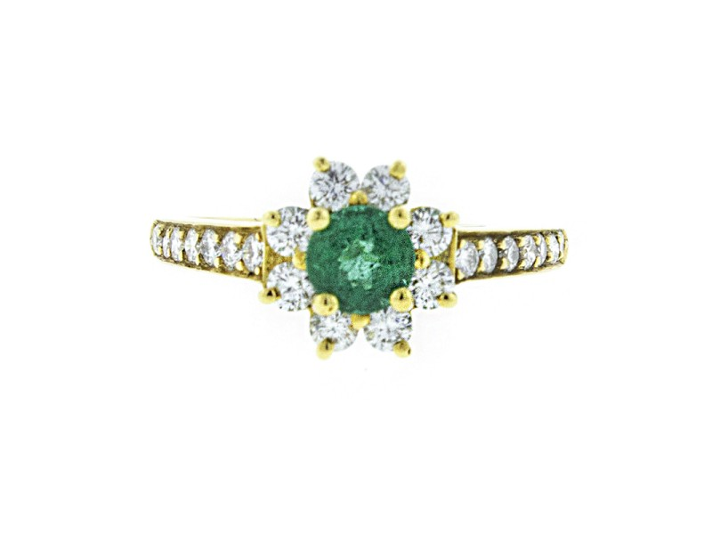 Tiffany & Co. 18K Yellow Gold Emerald and Diamond Flower Ring