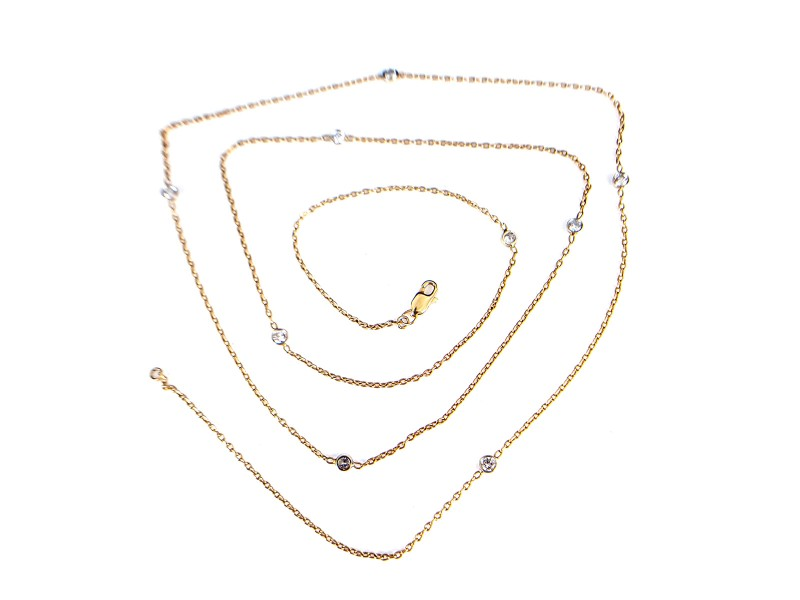 14K White and Yellow Gold Diamond By the Yard Fashion Necklace