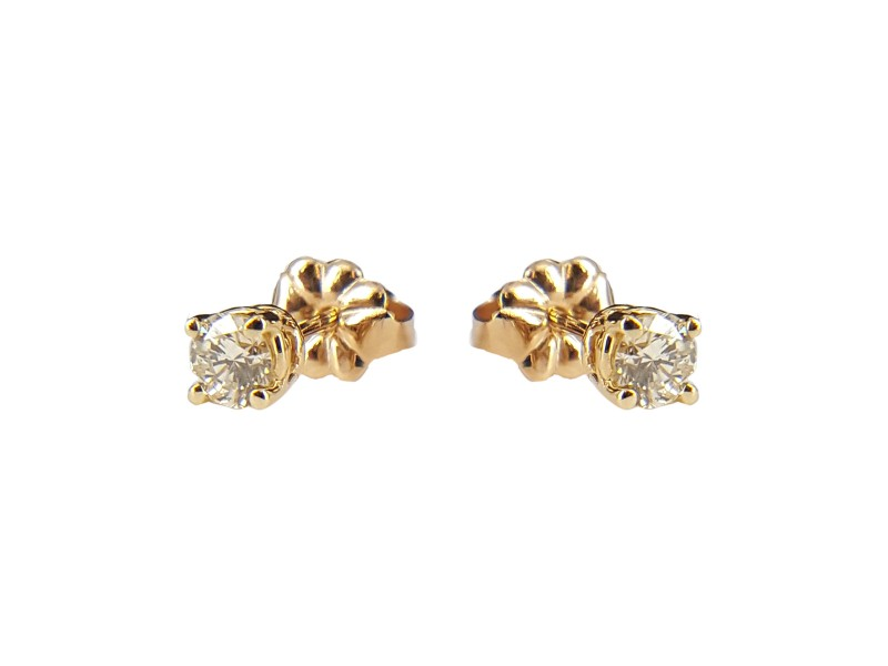 14K Yellow Gold Round 0.19ct. Diamond Stud Earrings