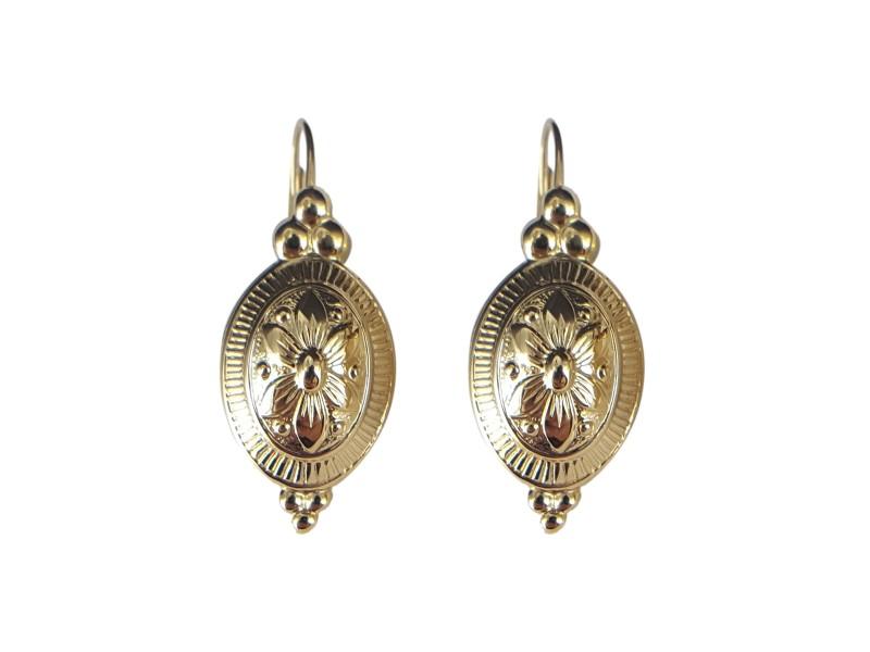 14K Yellow Gold Oval Flower Dangling Earrings