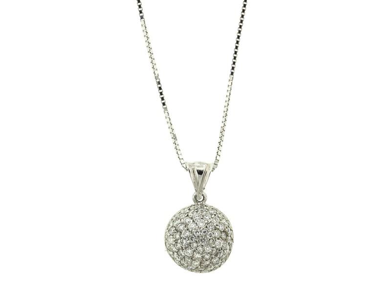 14k White Gold Pave Diamond Dome Pendant Necklace
