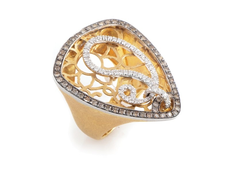 LeaderLine 18K Multi-Tone Gold Diamond Ring
