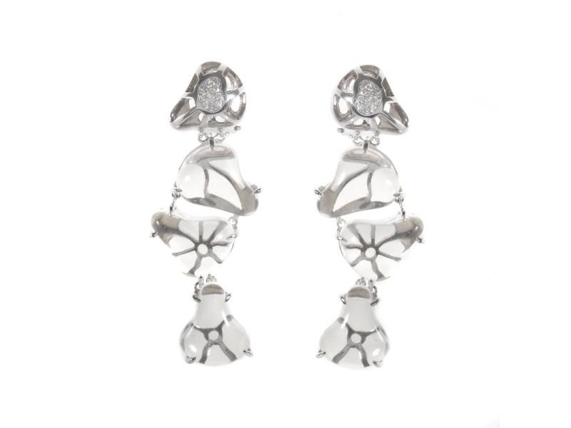 LeaderLine 18K White Gold Quartz Diamond Drop Earrings