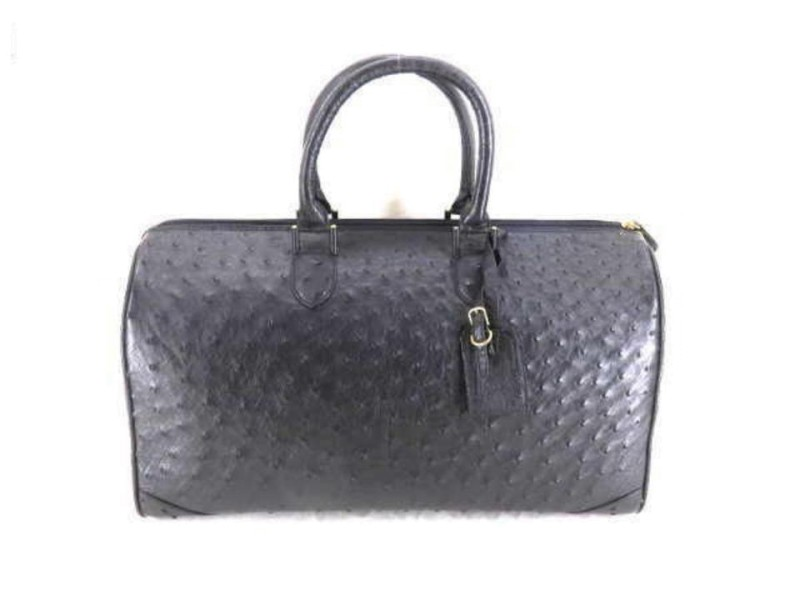 Other Leather Boston Duffle 233159 Black Ostrich Satchel