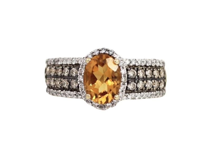 LeVian 14K Yellow Gold Chocolate Diamond & Orange Citrine Ring Size 5