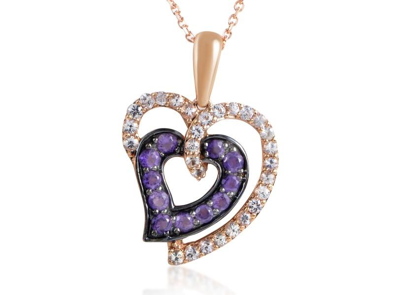 LeVian 14K Rose Gold White Sapphire & Amethyst Heart Pendant Necklace