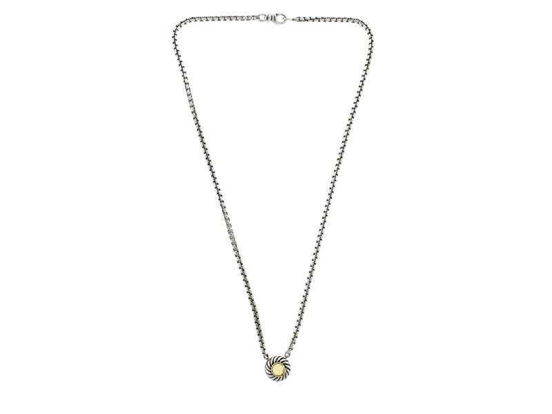 David Yurman Sterling Silver and 18k Yellow Gold Disc Pendant Necklace