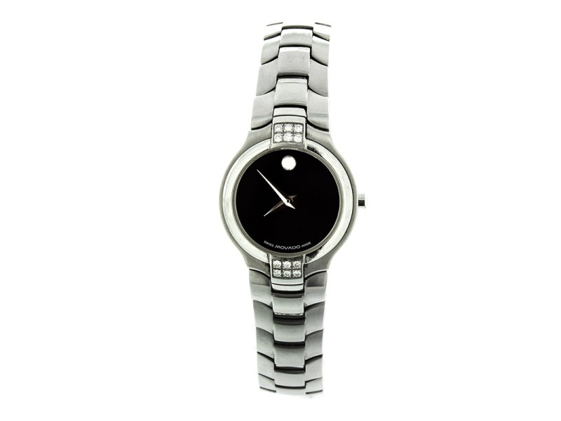 Movado Museum Ladies Model 84 G4 1852 Stainless Steel Watch With Diamonds