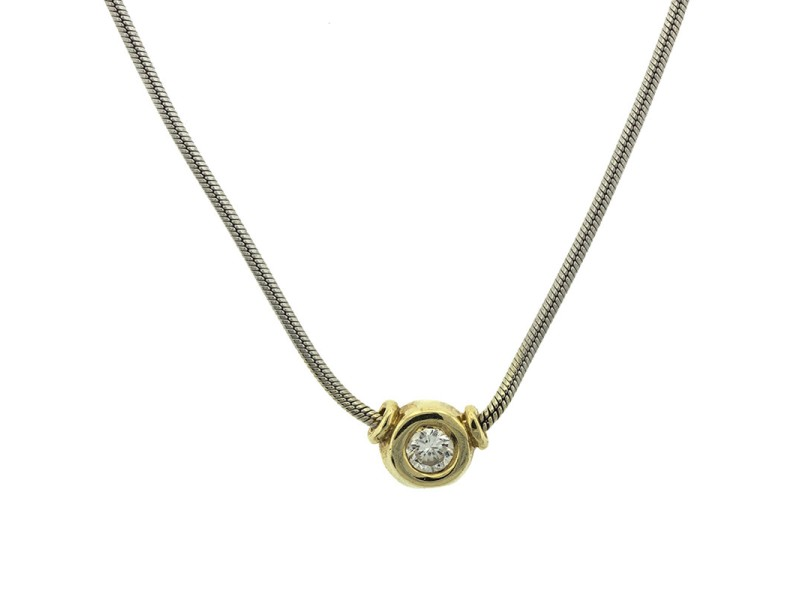 14k Two Tone Gold Cable Diamonds Necklace