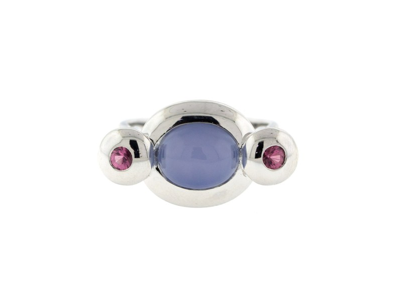 14k White Gold Pink Tourmaline and Chalcedony Ring
