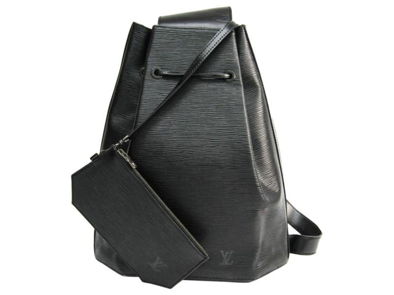 Louis Vuitton Black Epi Noir Sac a Dos Sling Backpack Hobo Drawstring 859821
