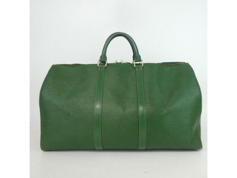 Louis Vuitton Green Epi Leather Keepall 50 Boston Duffle 860319