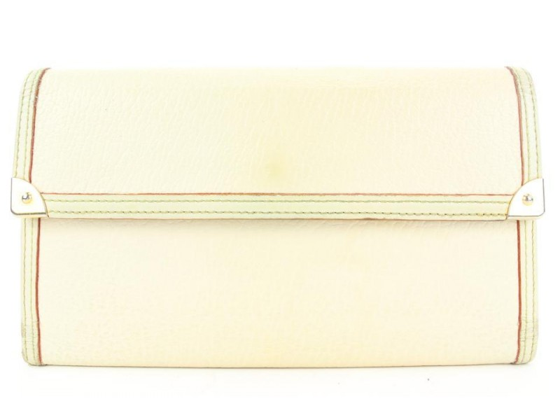 Louis Vuitton Cream Suhali Leather International Trifold Sarah Wallet M91839 4lvs113