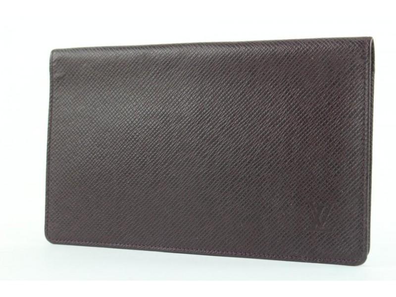 Louis Vuitton Bordeaux Taiga Leather Long Bifold Flap Wallet 139lvs429