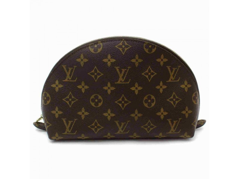 Louis Vuitton Monogram Cosmetic Pouch GM Demi Ronde Make up Case Toiletry 861176