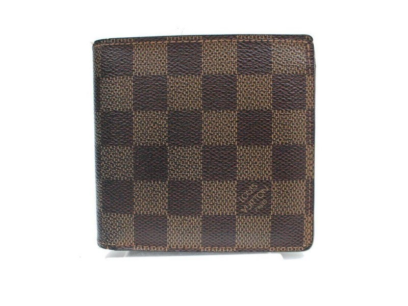 Louis Vuitton Brown Damier Ebene Portefeuille Marco Men's Bifold 871384 Wallet