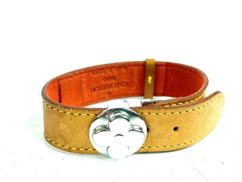Louis Vuitton Monogram Fleur Vachetta Bracelet Cuff Bangle 14LV610