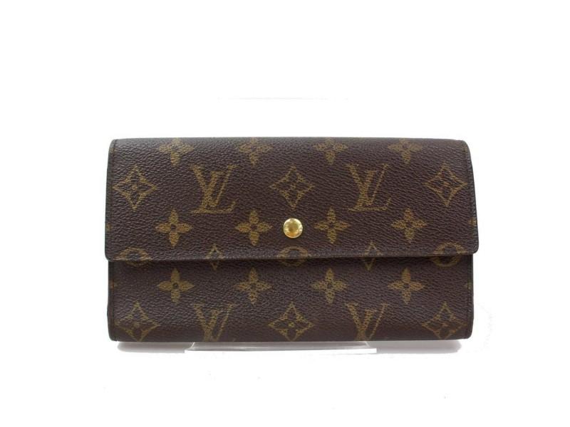 Louis Vuitton Brown Tresor Monogram Portefeuille Trifold Long Sarah Flap 870992 Wallet