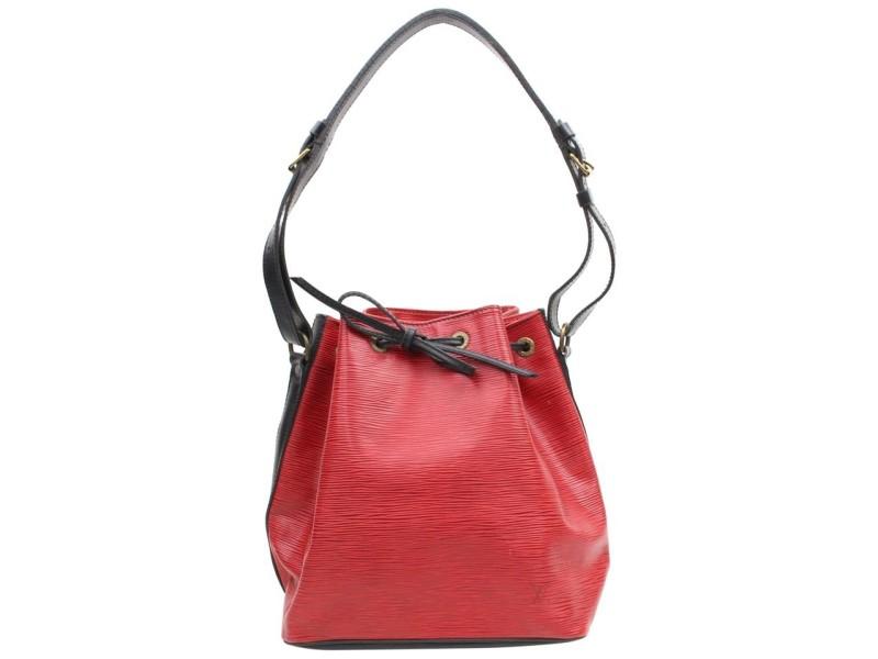 Louis Vuitton Bucket Hobo X Black Bicolor Epi Petit Noe Drawstring 867971 Red Leather Shoulder Bag