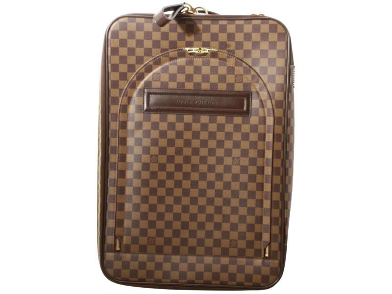 Louis Vuitton Damier Ebene Pegase 55 Rolling Luggage Carry-On Suitcase Bag  861898