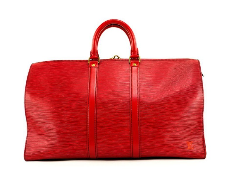 Louis Vuitton Red Epi Leather Keepall 50 Duffle Bag 207lvs29