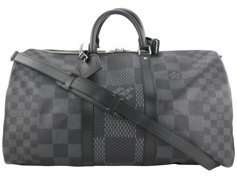 Louis Vuitton Damier Graphite 3D Keepall Bandouliere 50 Duffle Bag with Strap 9lvs18