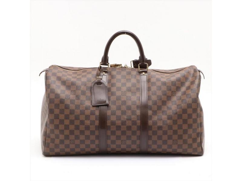 Louis Vuitton DIscontinued Damier Ebene Keepall 50 Duffle Bag MM 862492