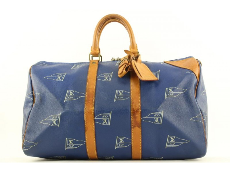 Louis Vuitton LV Cup Blue Keepall 45 Duffle Bag  862938