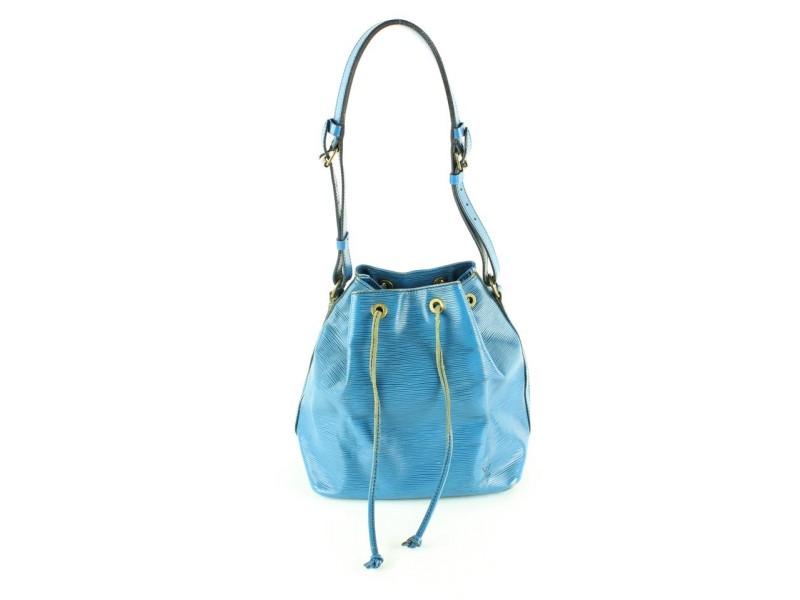 Louis Vuitton Blue Epi Leather Petit Noe Drawstring Bucket Hobo Bag 1lvm128