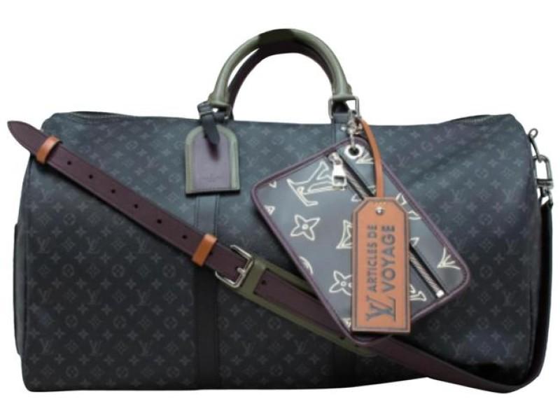 Louis Vuitton Rare Limited Black Monogram Eclipse Patchwork Keepall Bandouliere 50