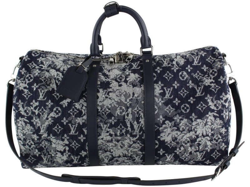 Louis Vuitton Virgil Abloh Denim Tapestry Keepall Bandouliere 50 Strap Bag 19LVS1210