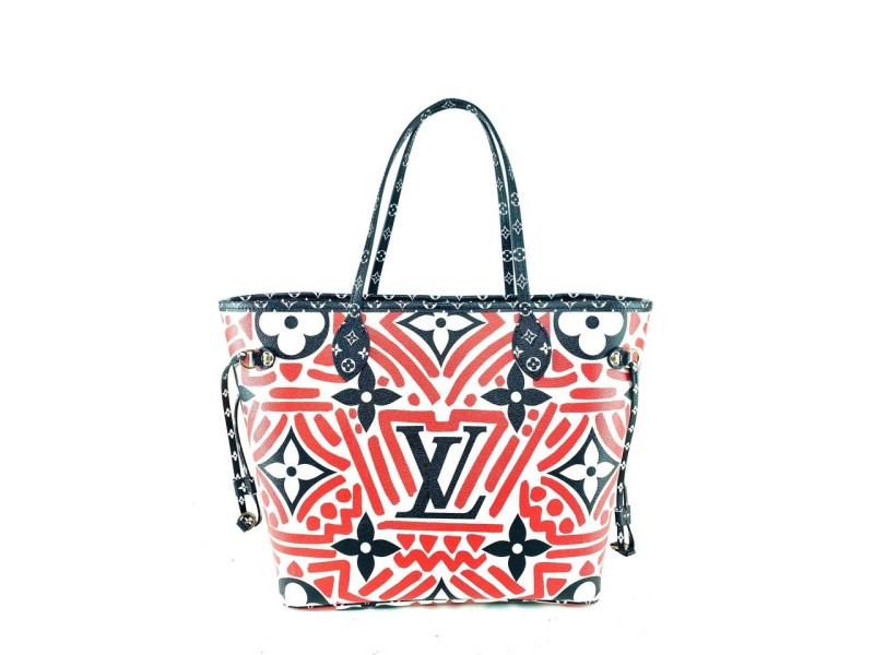 Louis Vuitton Neverfull Crafty Mm with Pouch Limited Tribal African 2lv729 Red Monogram Canvas Tote