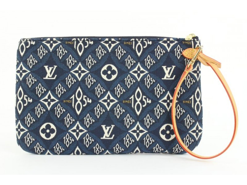 Louis Vuitton Blue Monogram Since 1854 Neverfull Pochette MM/GM Wristlet 320lvs223