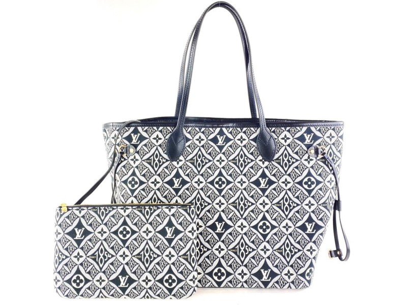 Louis Vuitton Ultra Rare Since 1854 Black Monogram Neverfull MM with Pouch 1lv108A