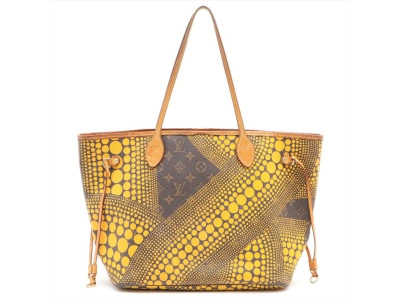 Louis Vuitton Yellow Monogram Kusama Infinity Dots Neverfull MM Tote 448lvs32