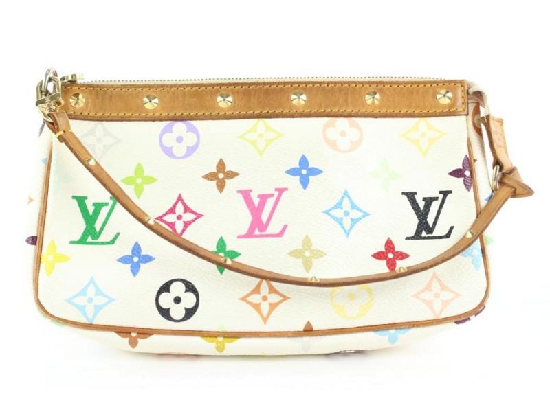 Louis Vuitton White Monogram Multicolor Pochette Accessoires Wristlet bag 494lvs35