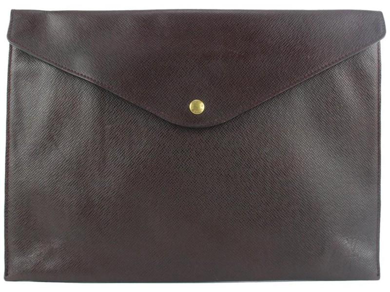 Louis Vuitton Bordeaux Taiga Leather Porte Documents Envelope Clutch 205lvs55