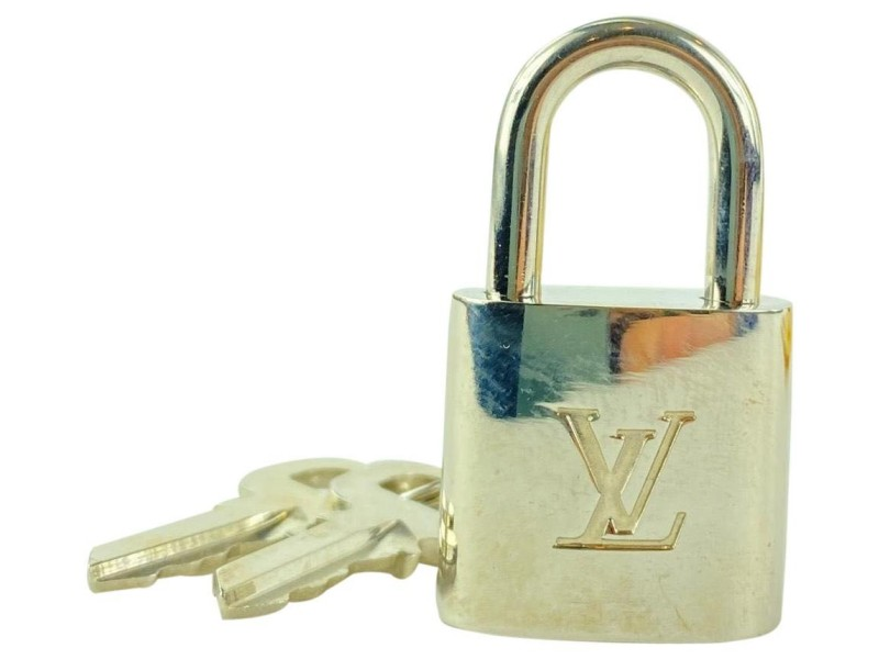 Louis Vuitton #309 Silver Padlock and Key Set Excellent Lock with Box Charm Pendant