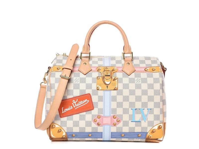 Louis Vuitton Limited Rare Damier Azur Summer Trunks Speedy Bandouliere 30 8LK1127