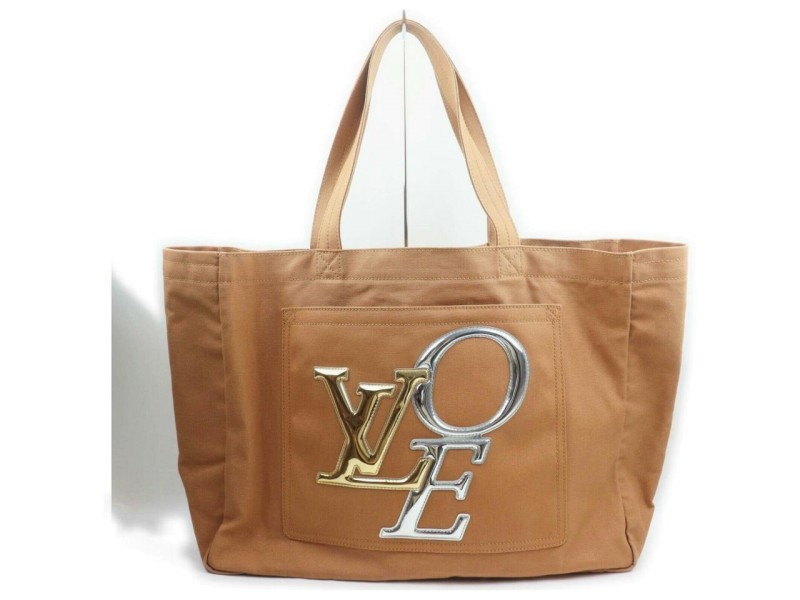Louis Vuitton Ultra Rare Light Brown Lvoe Thats Love Tote Bag 862316