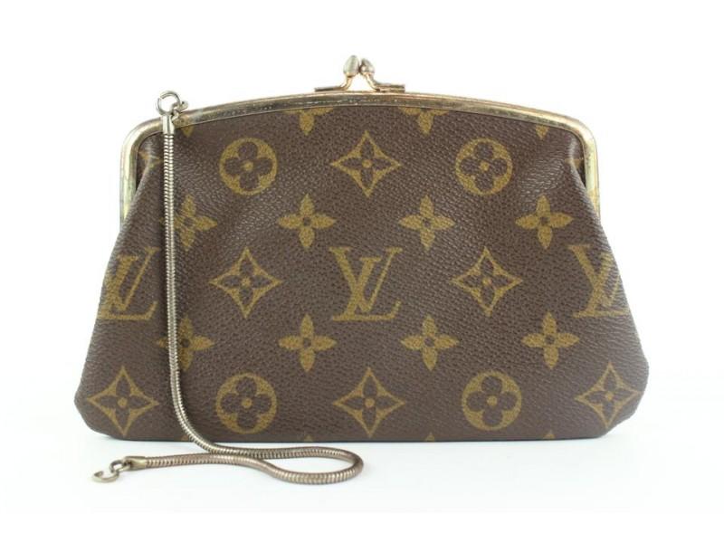 Louis Vuitton Monogram French Twist Kisslock Pouch Wristlet 602lvs315